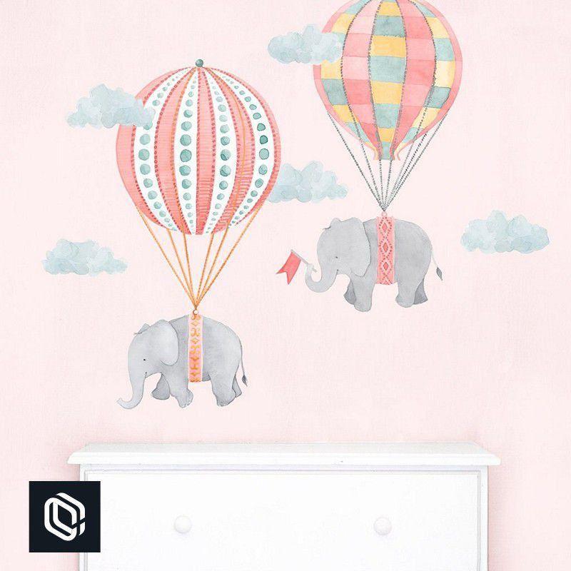 Adesivo Quarto Infantil Menina balões rosa com elefantes