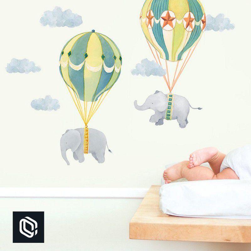 Bebê adesivo de parede balões colorido elefantes para berço