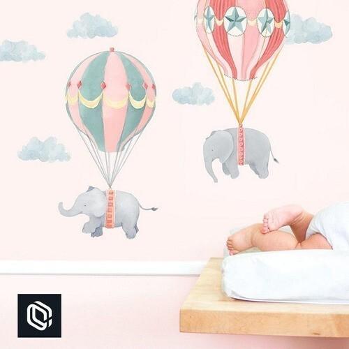 Bebê adesivo de parede balões rosa voando elefantes nuvens