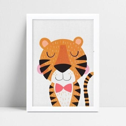 Decoração quadro infantil tigre gravata rosa