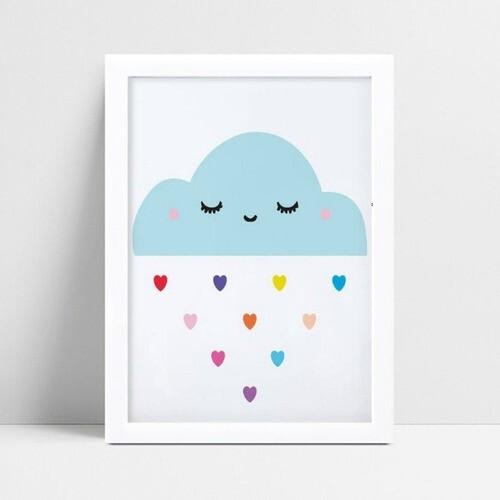 Decoração quadro mdf infantil nuvem corações coloridos
