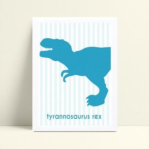Decoração quadro poster mdf dinossauro azul