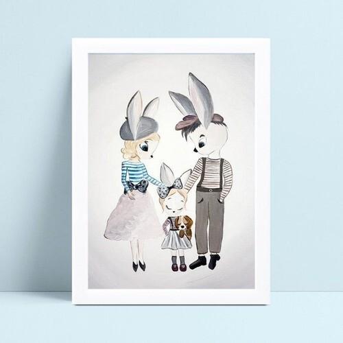 Decoração quadro poster mdf família de coelhos