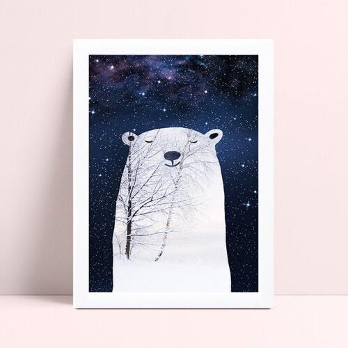 Decoração quadro poster mdf noite urso branco