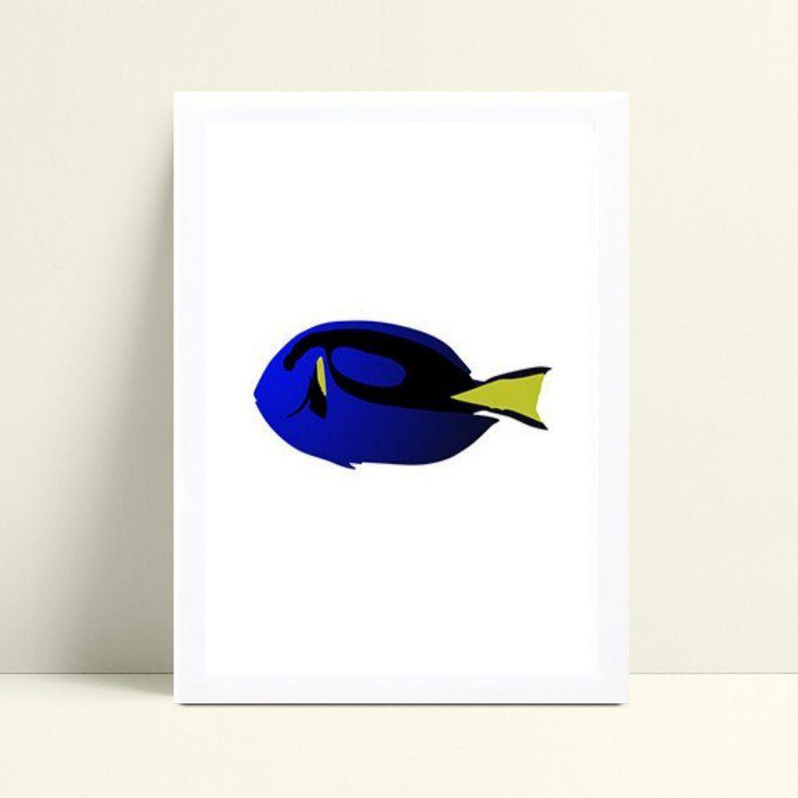 Decoração quadro poster mdf peixe colorido