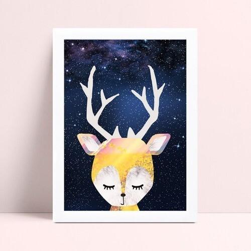 Decoração quadro poster mdf rena céu estrelado