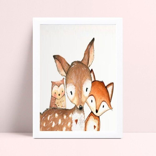 Decoração quadro quadro mdf animais coruja raposa cervo