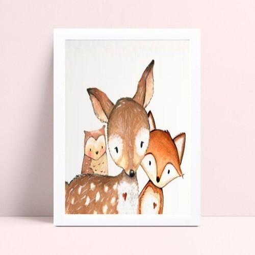 Decoração quadro quadro mdf animais floresta raposa