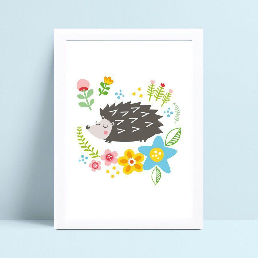 Decoração quadro quadro mdf animal porco espinho flores