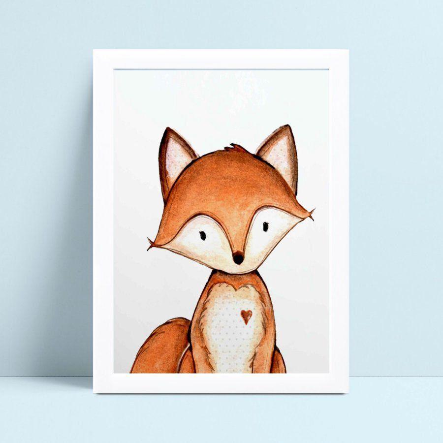 Decoração quadro quadro mdf animal raposa