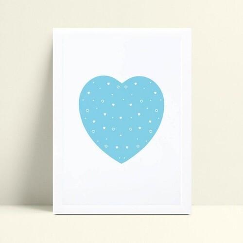 Decoração quadro quadro mdf coração grande azul