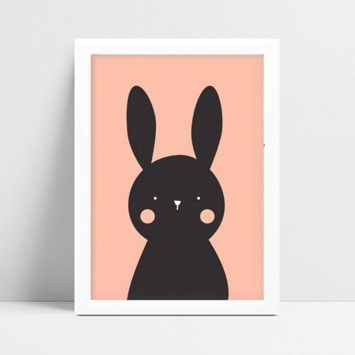 Decoração quadro quadro mdf desenho coelho preto e rosa