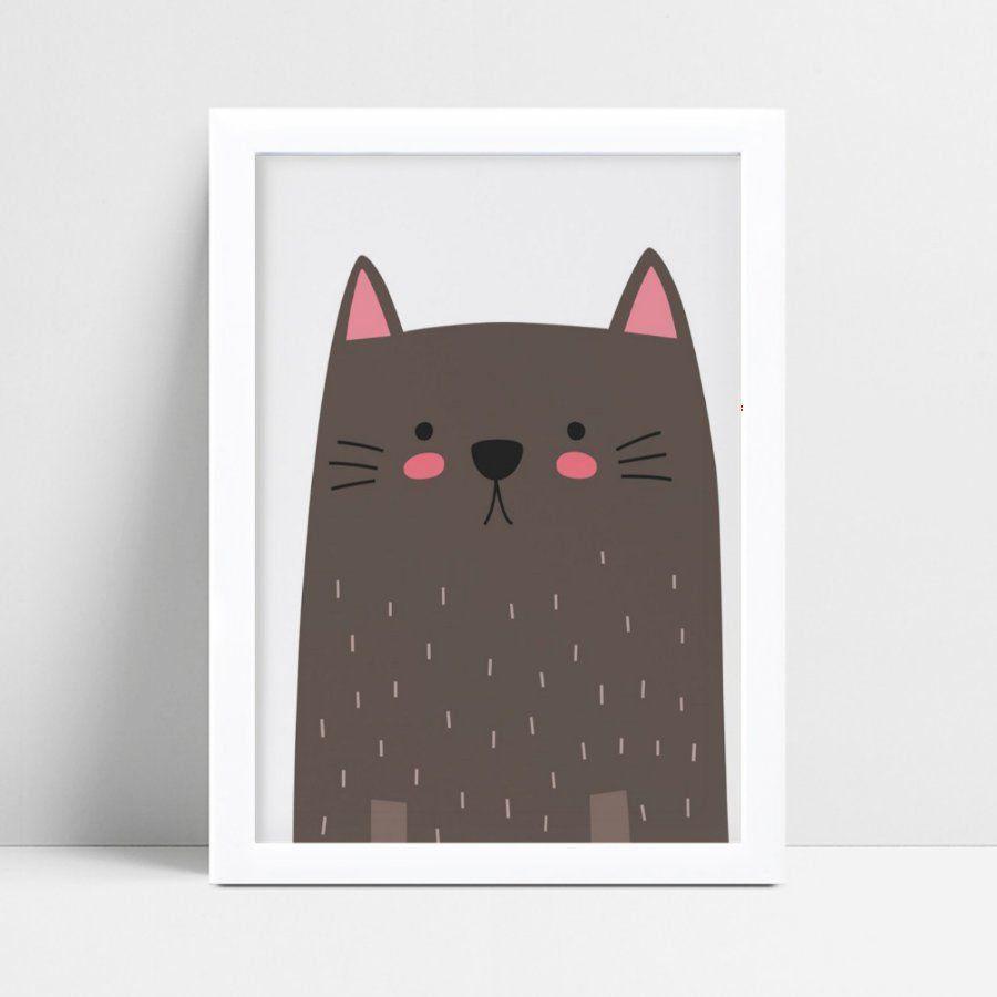 Decoração quadro quadro mdf desenho gato marrom e rosa