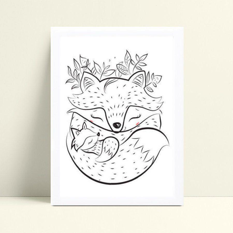 Decoração quadro quadro mdf desenho raposa e filhote