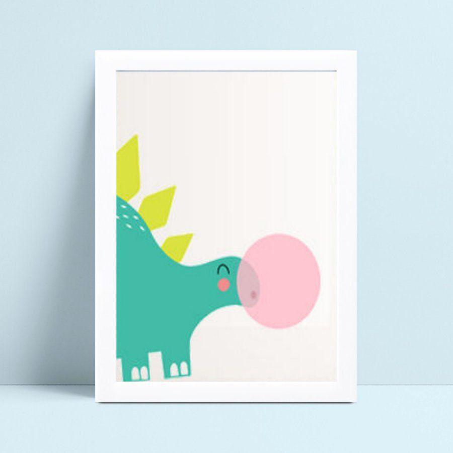 Decoração quadro quadro mdf dinossauro bola chiclete rosa