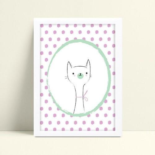Decoração quadro quadro mdf gatinho branco bolinhas roxa