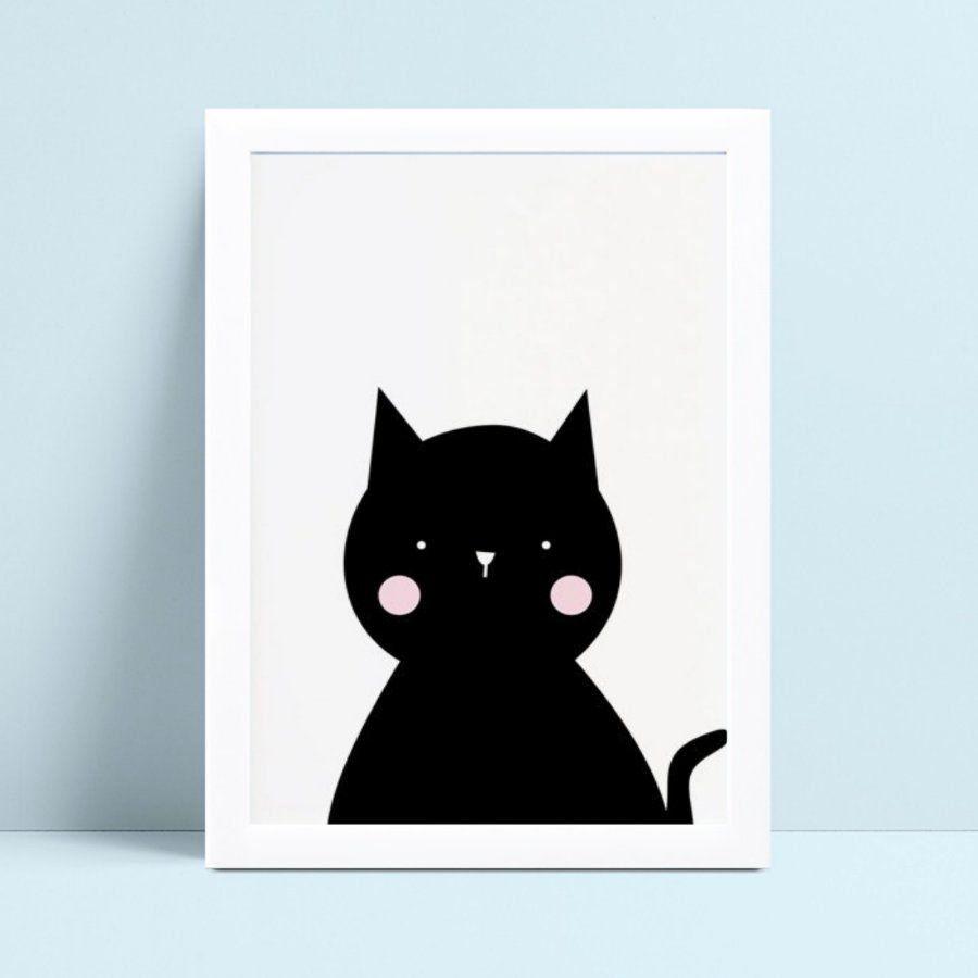 Decoração quadro quadro mdf gato preto