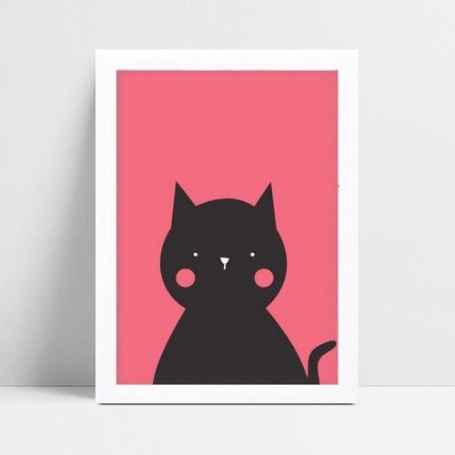 Decoração quadro quadro mdf gato rosa e preto