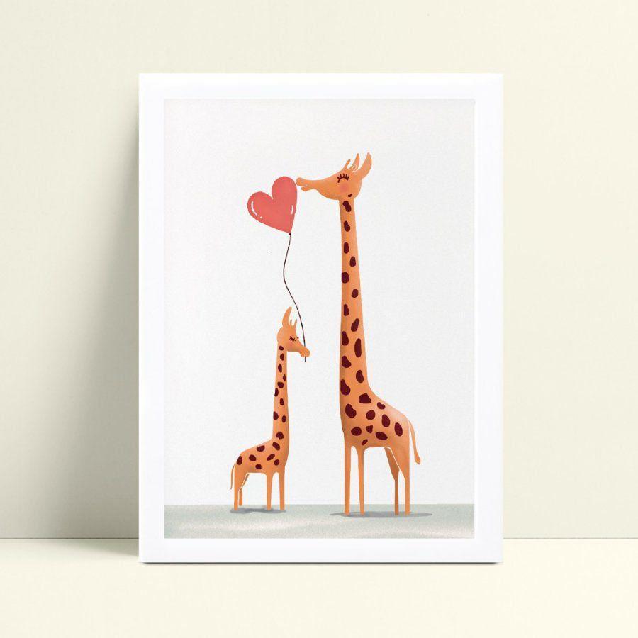 Decoração quadro quadro mdf girafa mãe e filho