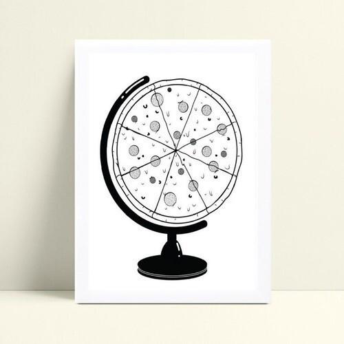 Decoração quadro quadro mdf globo terrestre pizza