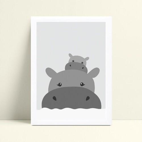 Decoração quadro quadro mdf hipopótamo mamãe&filhote