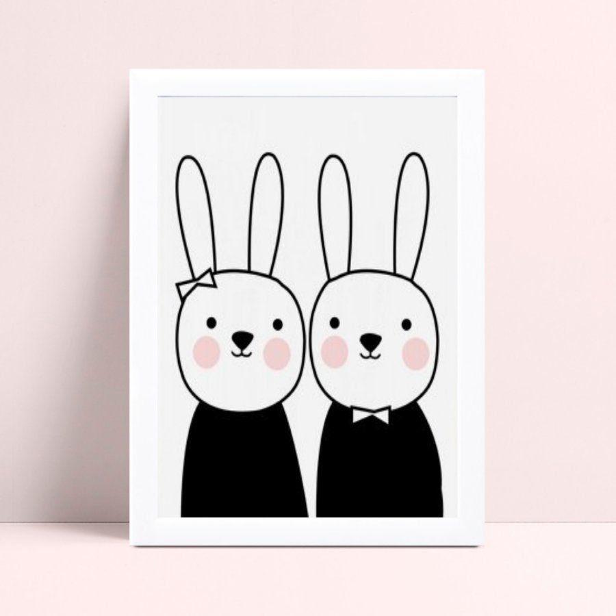 Decoração quadro quadro mdf menina e menino coelhos