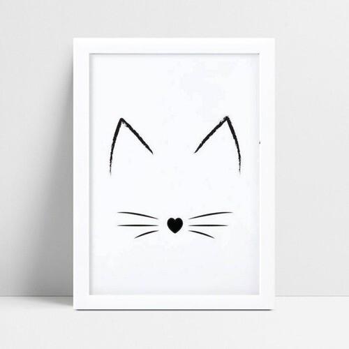 Decoração quadro quadro mdf orelha bigode de gato preto