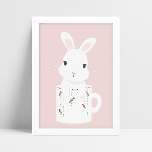 Decoração quadro quadro mdf rosa animal coelho na caneca