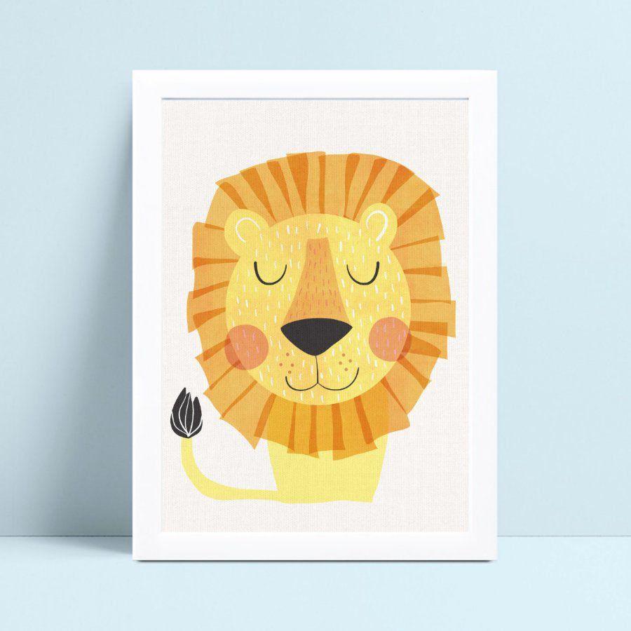 Decoração quarto infantil quadro animal leão
