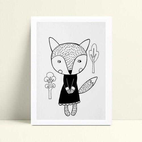 Decoração quarto infantil quadro raposa menina vestido preto