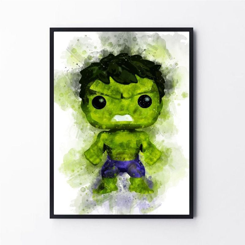 Desenho em aquarela Hulk super herói verde
