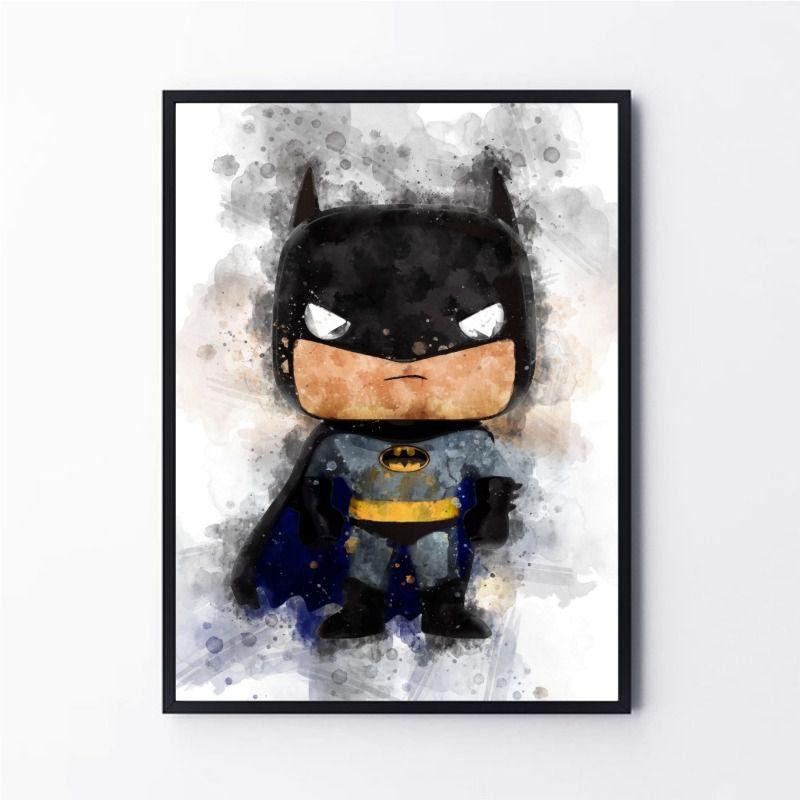 Desenho em aquarela super herói batman