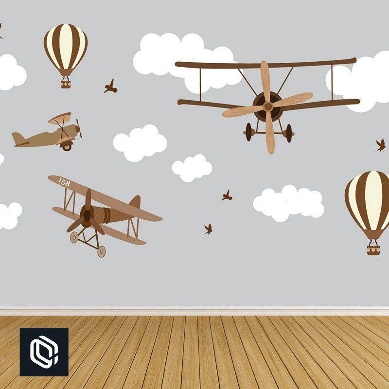 Papel Parede Kit Infantil Adesivo nuvem aviões balões pássaro