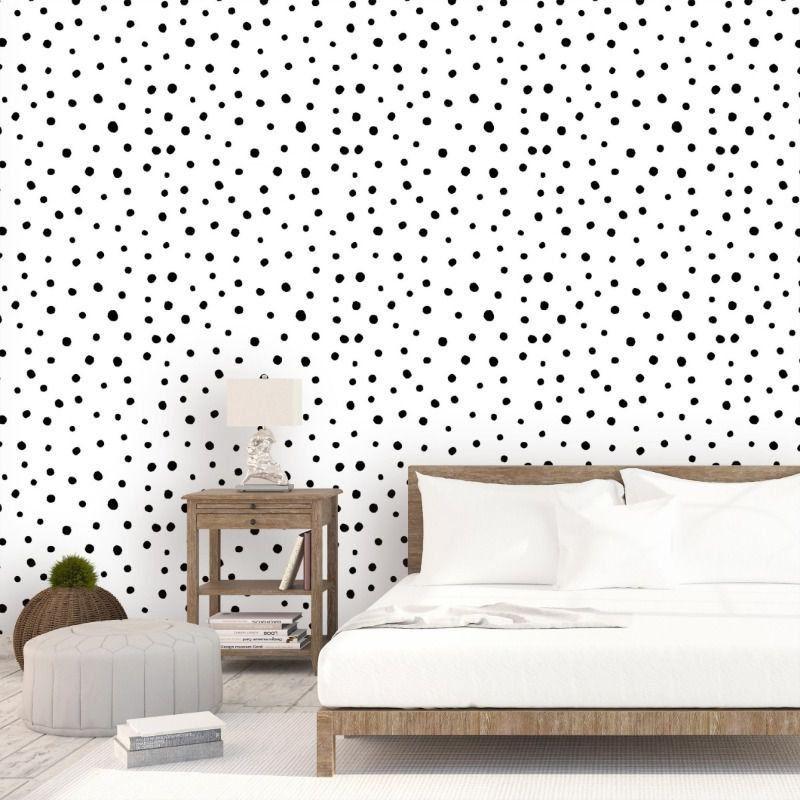 Papel de parede para quarto bolinhas pretas