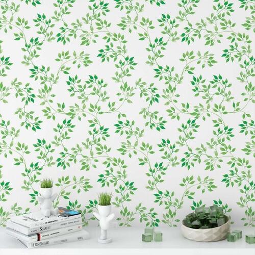 Papel de parede para quarto floral folhas verdes