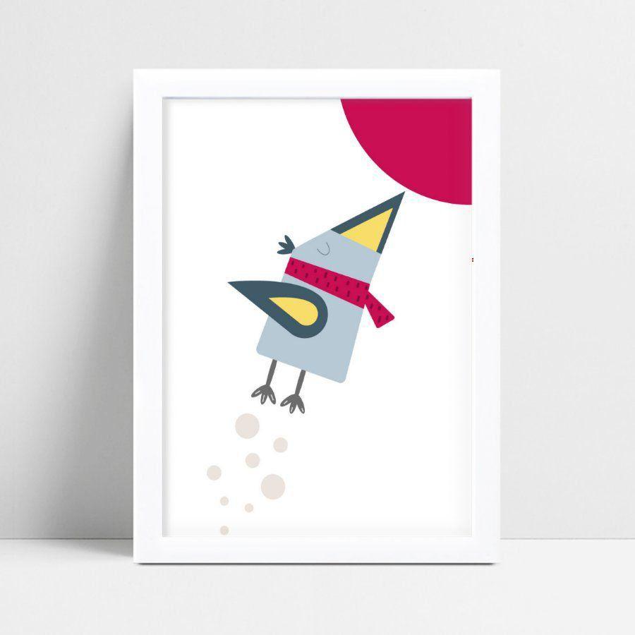 Papel de parede quarto pássaro colorido forma geométrico