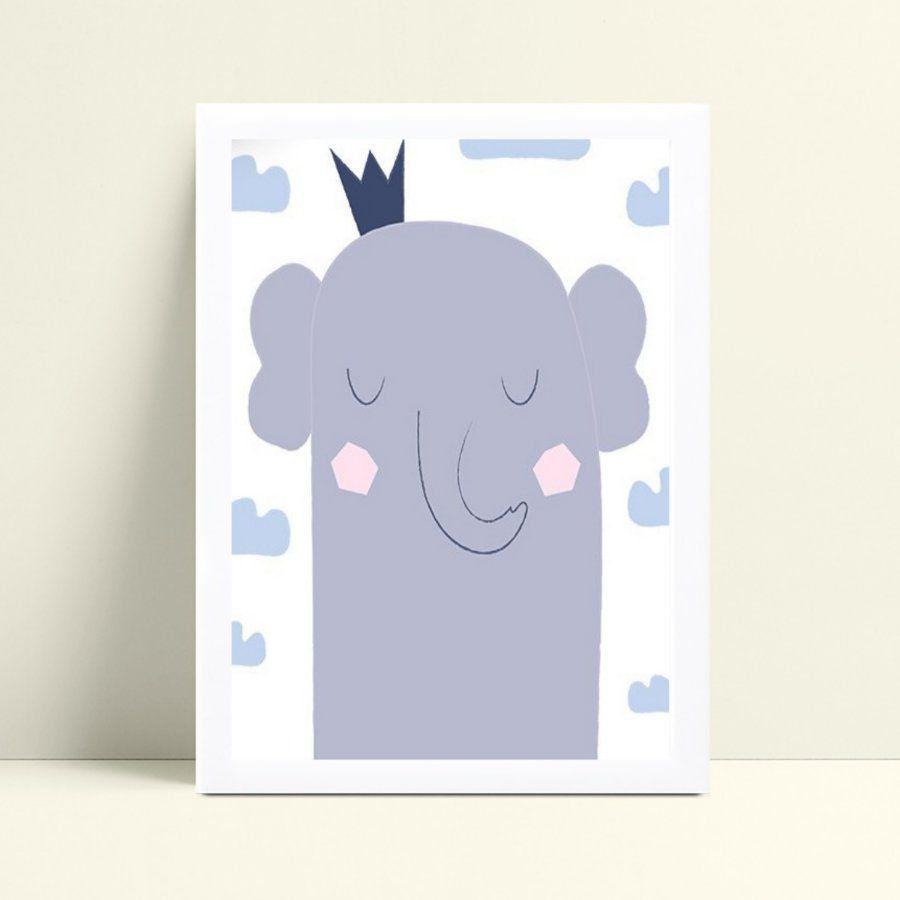 placa decoração de quarto infantil elefante nuvens azul