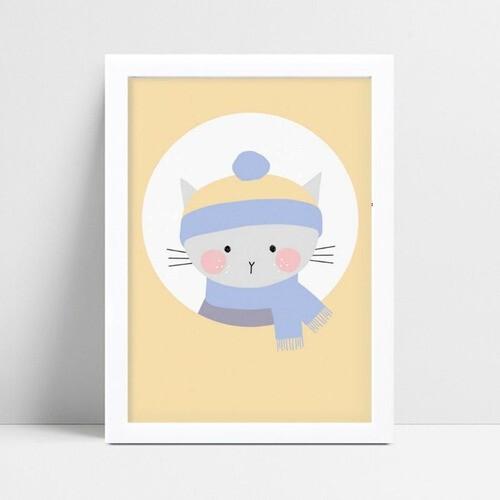 placa decoração de quarto infantil gato de cachecol
