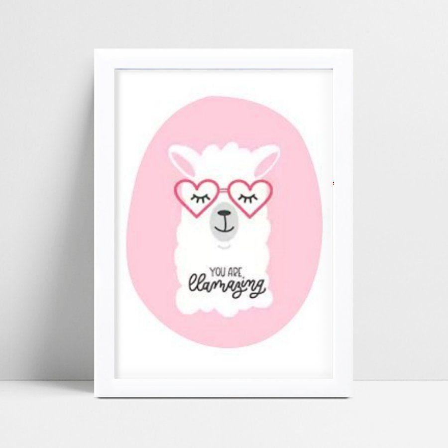 placa decoração de quarto infantil menina alpaca de óculos