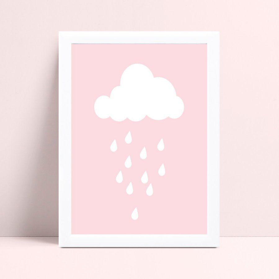 placa decoração de quarto infantil nuvem branco e rosa