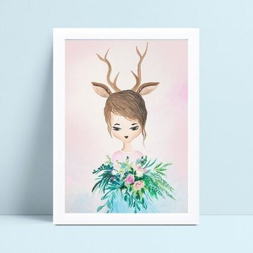 placa decoração quarto infantil menina rena arranjo floral