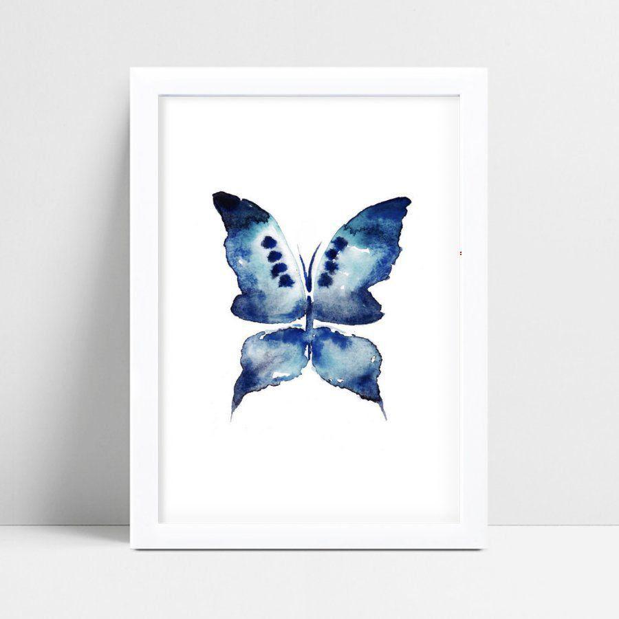 Placa Decorativa Infantil borboleta azul aquarela