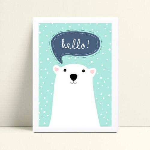 Placa infantil decoração quarto animal urso branco