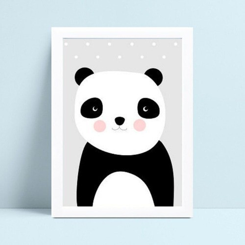 Placa infantil decoração quarto panda p&b