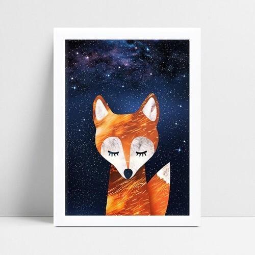 Placa infantil decoração quarto raposa céu estrelado