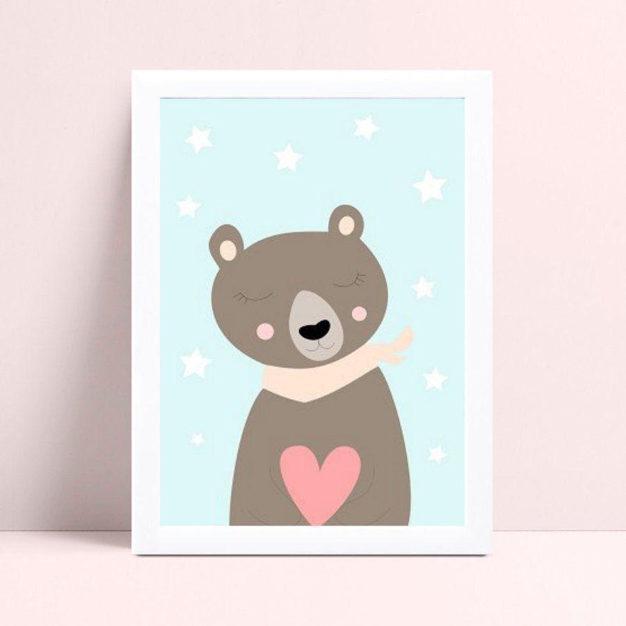 Placa infantil quarto bebê menina urso marrom & rosa