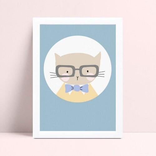 Placa infantil quarto bebê menino gato de óculos