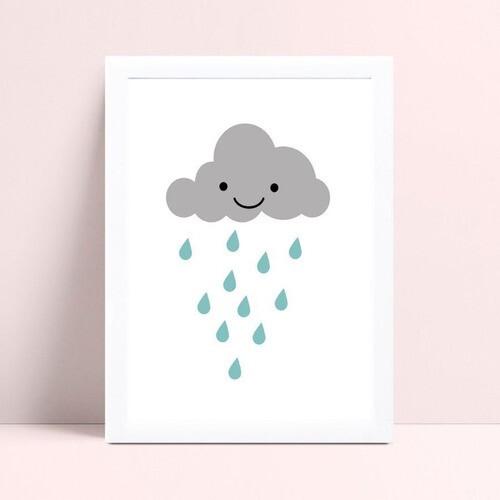 Placa infantil quarto bebê nuvem cinza gotas azul
