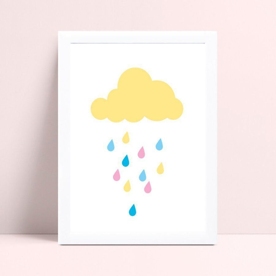Placa infantil quarto nuvem bege gotas chuva coloridos