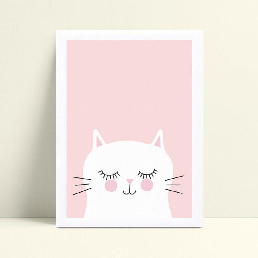 Placa MDF grande poster menina gata gato